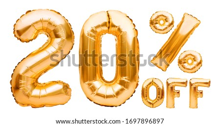 Golden twenty percent sale sign made of inflatable balloons isolated on white. Helium balloons, gold foil numbers. Sale decoration, black friday, discount concept. 20 percent off, advertisement. Royalty-Free Stock Photo #1697896897