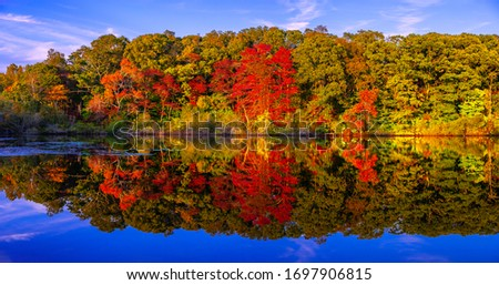 Panoramic stunning photo of fall foliage reflected on a lake with a glass-like mirror water surface