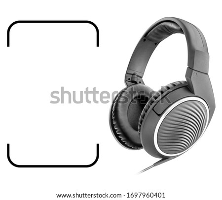 Weird Headphones Isolated on White Background. Black Headset Side View with Inline Mic Integrated Microphone and Audio Cable. Advanced Acoustic Stereo Sound System Powerful Neodymium Magnets #1697960401