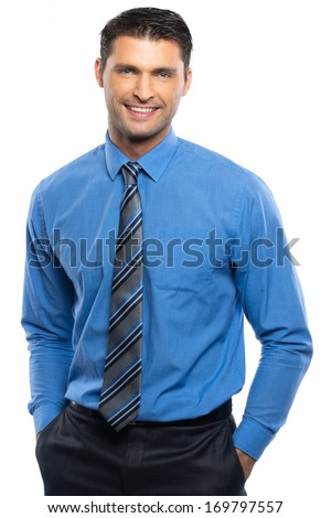 Handsome young man in blue shirt and tie isolated on white background  #169797557