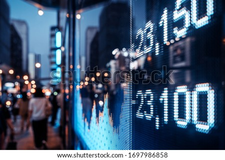 Financial stock exchange market display screen board on the street, selective focus Royalty-Free Stock Photo #1697986858