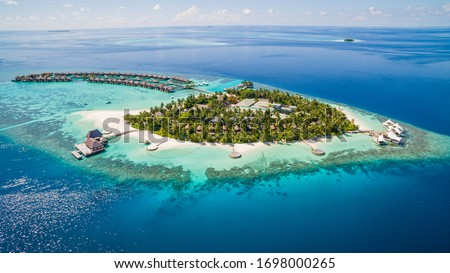 Beautiful drone aerial view of w Maldives #1698000265