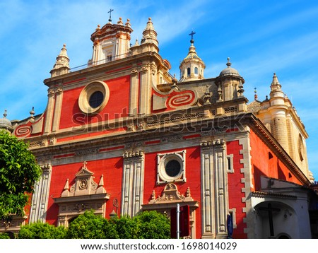 View of the Church of the Divine Salvador in Seville, Spain. Royalty-Free Stock Photo #1698014029