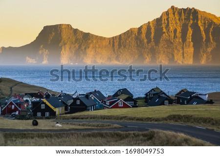 Traditional houses in Gjógv village, landscape scenery Faroe Islands