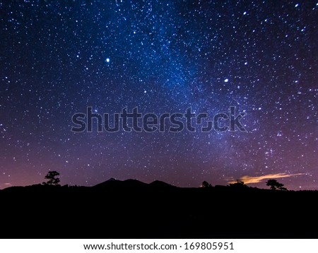 the Milky Way above volcano Teide at the Island od Tenerife