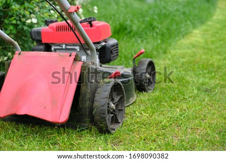 Working lawn mower on green lawn with trimmed grass. #1698090382