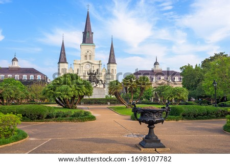 New Orleans, Louisiana, USA at Jackson Square and St. Louis Cathedral in the morning.