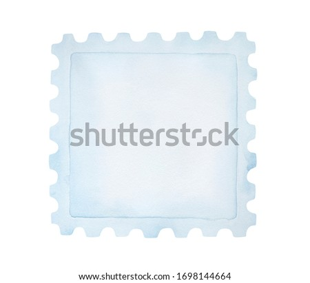 Watercolor illustration of blank postage stamp of square shape with perforated edges. One single object. Hand drawn watercolour monochrome paint on white. Cutout clip art detail for design decoration.