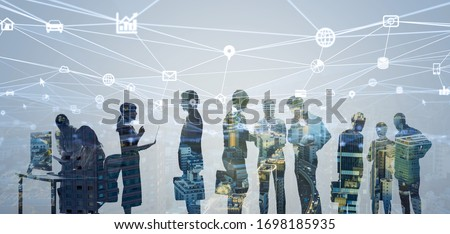 Business network concept. Group of businessperson. Teamwork. Human resources. #1698185935