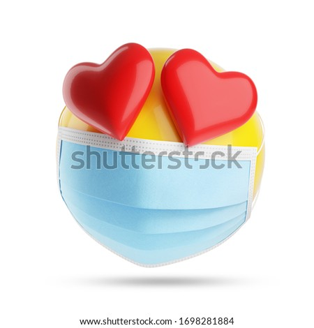 Falling in love emoji with a medical mask. Isolated, clipping path included. 3d illustration