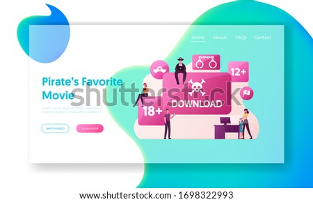 Illegal Content Free Download Landing Page Template. Pirate Character Sitting on Sign with Jolly Roger Transfer and Sharing Files Using Torrent Online Media Servers. Cartoon People Vector Illustration