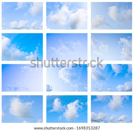 Set Blue sky white cloud white background. Beautiful sky and clouds in the afternoon. Bright sky, good weather, strong sun, beautiful skin, natural.  #1698353287