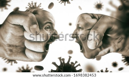 Two fists with man's and woman's face are collide with each other on coronavirus background. Concept of confrontation, domestic violence, family quarrel. Black and white. Royalty-Free Stock Photo #1698382453