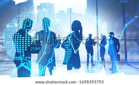 Team of traders working together in blurry panoramic office with double exposure of financial chart and planet hologram. Concept of teamwork and stock market. Toned image #1698393793