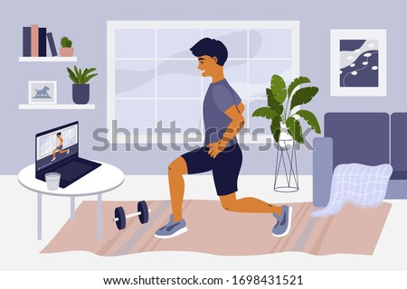 Stay home, keep fit and positive. Man doing exercise on laptop. Online training at home gym. sport internet fitness workout. Healthy lifestyle. Coronavirus quarantine isolation. Vector illustration. #1698431521