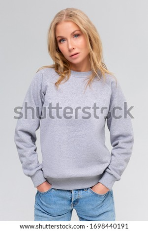Blank sweatshirt mock up isolated. Female wear plain hoodie mockup. Plain hoody design presentation. Clear loose overall model. Pullover for print. Woman clothes sweat shirt template sweater wearing #1698440191