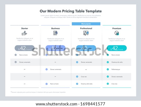 Modern looking pricing table design with four subscription plans. Flat infographic design template for website or presentation. Royalty-Free Stock Photo #1698441577