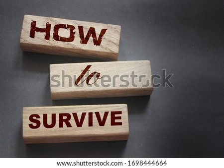 How to Survive words on wooden blocks. Stay alive in wild nature concept. Business startup surviving concept.  Epidemic survival healthcare coronavirus prevention concept. #1698444664