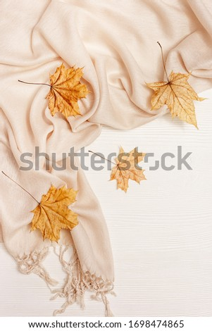 Autumn cozy composition with dried leaves of maple and pastel beige scarf on white wooden background. Autumn, fall concept. Flat lay, top view, copy space. #1698474865