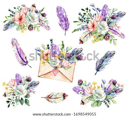 Set watercolor painting, floral clip art. Flowers, feathers, envelope. Perfectly for printing design on birthday invitations, cards and other. Isolated on white.