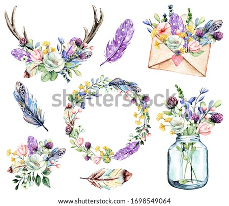 Set watercolor painting, floral clip art. Flowers, feathers, glass jar, envelope, horns. Perfectly for printing design on birthday invitations, cards and other. Isolated on white.