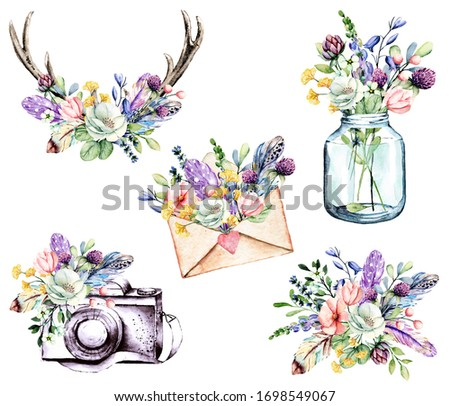 Set watercolor painting, floral clip art. Flowers, feathers, glass jar, envelope, camera, horns. Perfectly for printing design on birthday invitations, cards and other. Isolated on white.