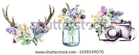 Set watercolor painting, floral clip art. Flowers, feathers, glass jar, camera, horns. Perfectly for printing design on birthday invitations, cards and other. Isolated on white.