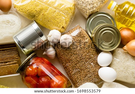 Stock of non-perishable products. Various cereals and canned food