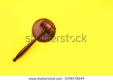 Judge's gavel on color background