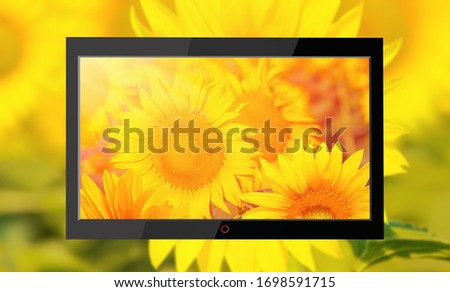 Flat black TV with picture of sunflowers field on the screen