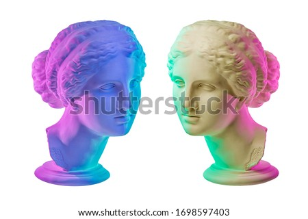 Statue of Venus de Milo. Creative concept colorful neon image with ancient greek sculpture Venus or Aphrodite head. Webpunk, vaporwave and surreal art style. Isolated on a white.