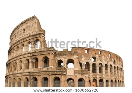 Colosseum, or Coliseum, isolated on white background. Symbol of Rome and Italy