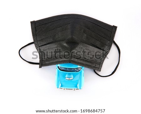 Black disposable mask and private car model #1698684757