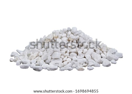Marble rubble on a white background in the form of a pile of stones. Marble crushed stone fraction is used in landscape design, construction, and aquarium soil #1698694855