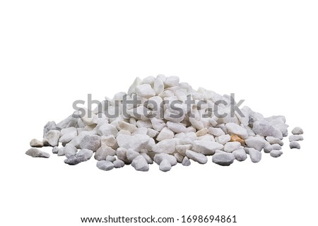 Marble rubble on a white background in the form of a pile of stones. Marble crushed stone fraction is used in landscape design, construction, and aquarium soil #1698694861