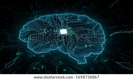 Artificial intelligence (AI), data mining, deep learning modern computer technologies.  Futuristic Cyber Technology Innovation.  Brain representing artificial intelligence with printed circuit board ( #1698736867