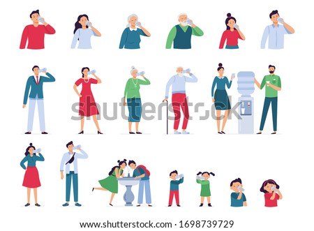 People drink water. Drinking water in bottle, glass and cooler for kids and seniors, adult man and woman drinks water healthy lifestyle vector set. Woman man drink water, cooler office illustration #1698739729
