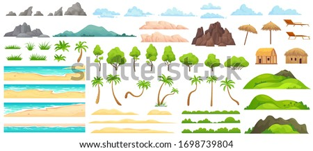 Beach landscape constructor. Sandy beaches, tropical palms, mountains and hills. Ocean horizon, clouds and green trees cartoon vector illustration set. Nature beach landscape constructor Royalty-Free Stock Photo #1698739804