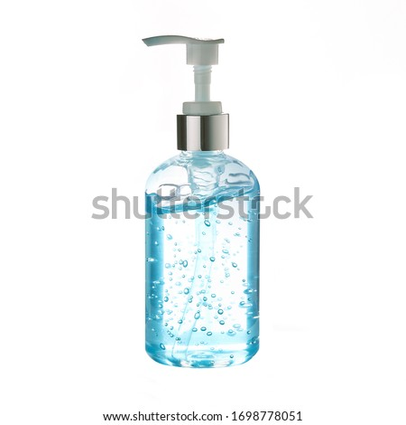 Pocket antiseptic hand sanitizer gel isolated on white background,corona virus prevention medical hand sanitizer gel,hydro alcoholic ,transparent blue antibacterial liquid with oxygen bubbles #1698778051