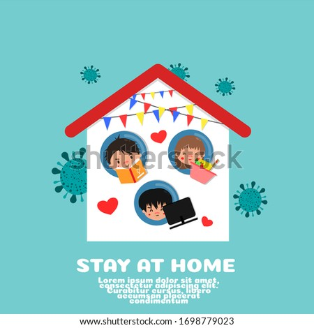 STAY AT HOME FIGHT CORONAVIRUS CARTOON VECTOR CONCEPT. READING BOOK, COOKING AND WORK AT HOME. #1698779023