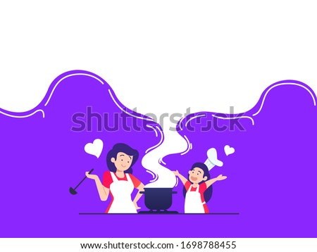 vector illustration mom and kids cooking together flat style Royalty-Free Stock Photo #1698788455