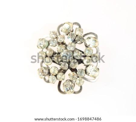 Vintage rhinestones brooch scroll pattern flower pin #1698847486
