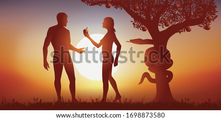 Concept of Genesis and original sin with sap which offers an apple to Adam by subjecting him to temptation under the gaze of the serpent symbolizing evil. Royalty-Free Stock Photo #1698873580