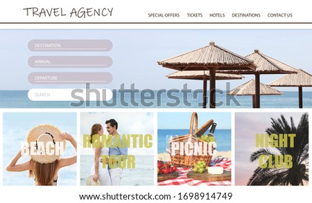 Collage of beautiful pictures for travel agency website