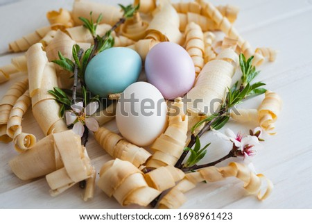 Easter eggs lie on a white table with wooden sawdust. Spring sprigs of the mendal. Happy Easter day. Easter decor. Easter eggs.