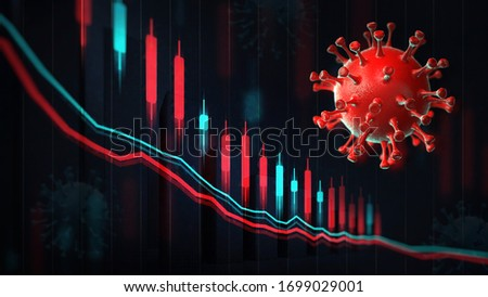 Economic graph chart and business report, red coronavirus macro on screen and blurred background. Business and economy 3D illustration.  #1699029001