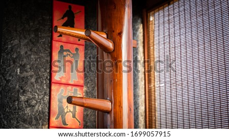 wing chun wooden martial art dummy Royalty-Free Stock Photo #1699057915