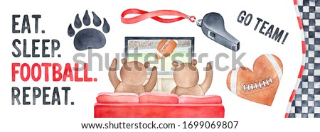 "American Football watercolour set with sport symbols, funny bears, tv-set and motivational phrase: ""Eat. Sleep. Football. Repeat"". Red, black, brown colors. Hand painted clip art elements for design."