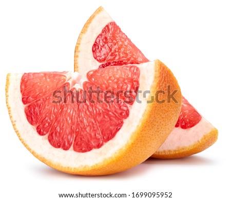 Grapefruit fruit. Grapefruit slice isolated on white background. Grapefruit with clipping path. #1699095952