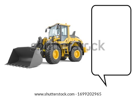 Wheel Loader Isolated on White. Yellow Front Loader. Loading Shovel. Manufacturing Equipment. Pneumatic Truck. Tractor Front Loader. Heavy Equipment Machine. Side View Industrial Vehicle. 3D Rendering #1699202965